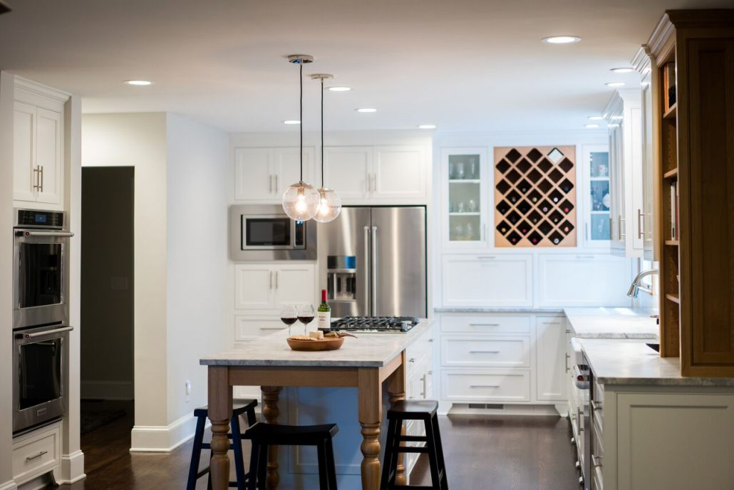 white kitchen remodel with inset cabinetry