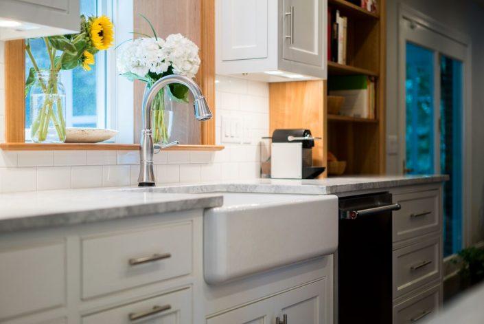 farm sink in custom kitchen