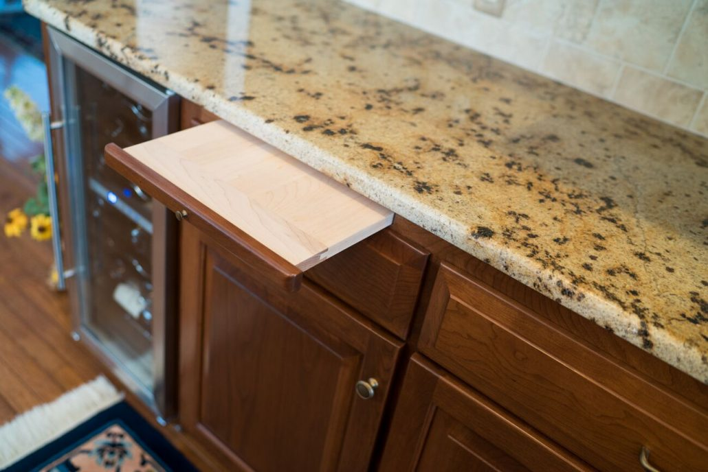 cutting board integrated into kitchen